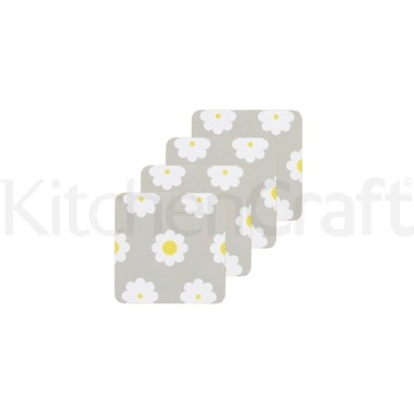 KitchenCraft Retro Flower Cork Back Laminated Set of 4 Coasters