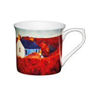 KitchenCraft Set of Four Fluted Fine Bone China Landscape Mugs