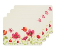 Kitchen Craft Poppy Field Cork Back Laminated Set of 4 Placemats