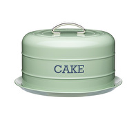 Living Nostalgia Airtight Cake Storage Tin/Cake Dome - English Sage Green