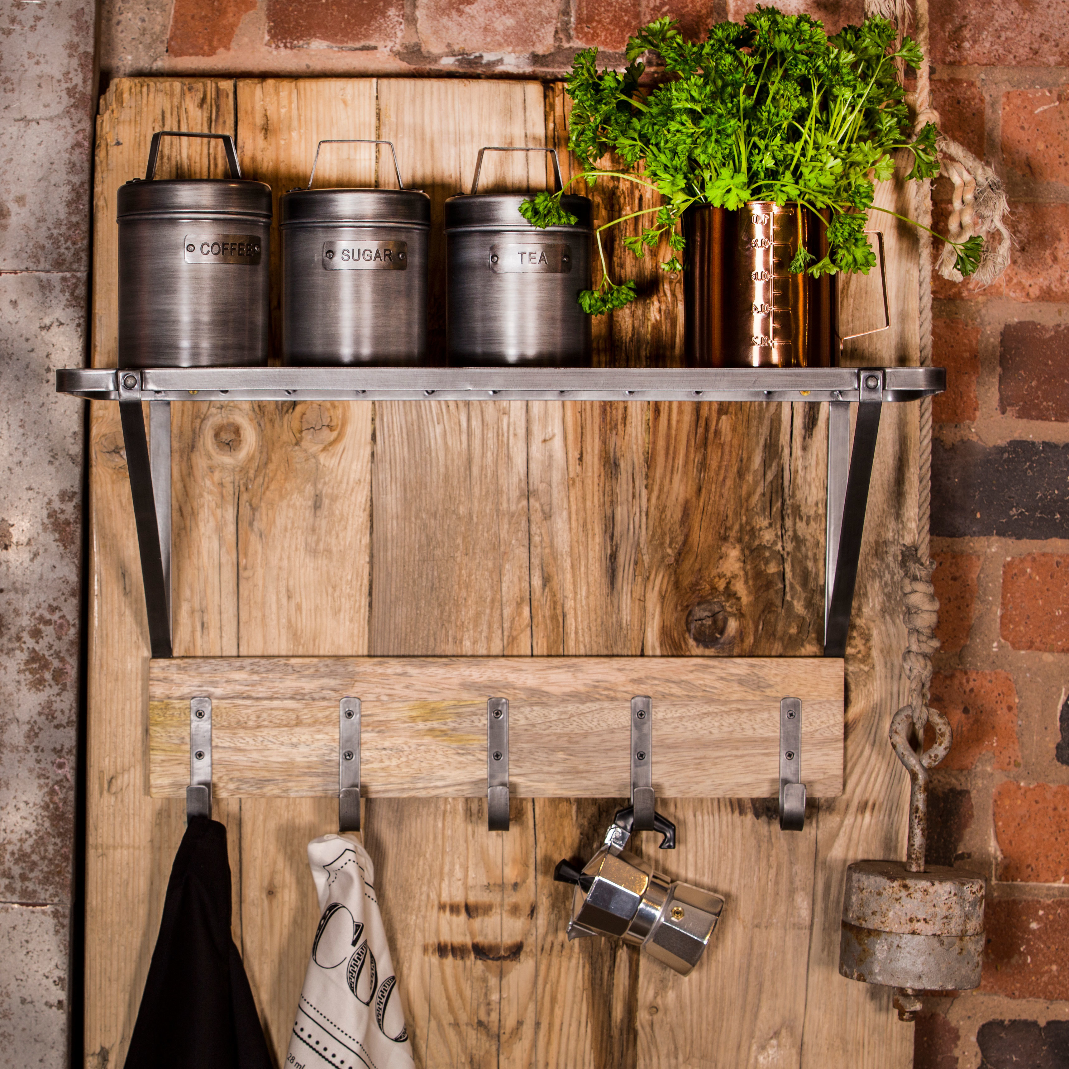 Industrial Kitchen Brands: Industrial Kitchen Wall-Mounted Shelf With Hooks