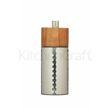 Master Class 15cm Hammered Stainless Steel and Beechwood Pepper Mill