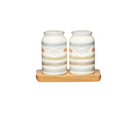 Classic Collection Vintage-Style Ceramic Salt and Pepper Shakers with Wooden Tray