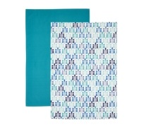 Kitchen Craft Set of 2 Blue Leaf Tea Towels