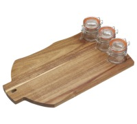 Artesà Stylish Wooden Serving Set with 3 Glass Pots