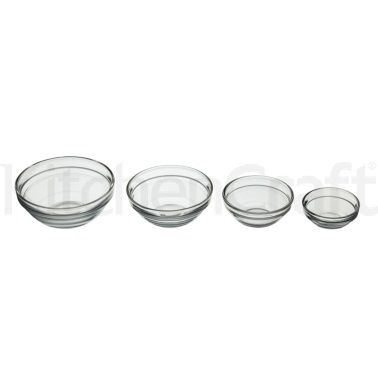 Kitchen Craft Set of 4 Glass Condiments & Preparation Bowls