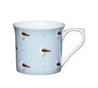 KitchenCraft Set of Four Fluted Fine Bone China Seagull Mugs