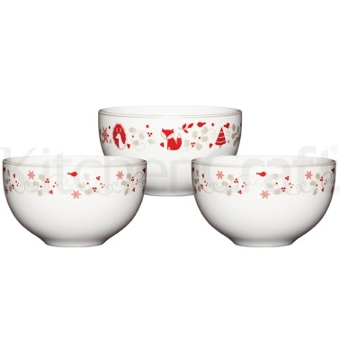 Winter Woodland 3 Piece Porcelain Dip Bowl Set