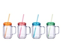 KitchenCraft Romany Summer 400ml Double Walled Drinks Jar