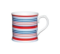 KitchenCraft Fine Porcelain Red and Blue Stripes Mug