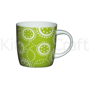 Kitchen Craft Fine Bone China Green Circles Barrel Mug