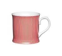 KitchenCraft Fine Porcelain Red Stripes Mug