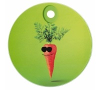 Kitchen Craft Toughened Glass Round Worktop Protector - Funky Carrot