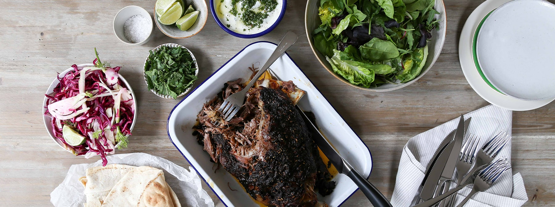 Signature Recipes | Spiced shoulder of lamb with pickled fennel, cabbage and garlic yoghurt
