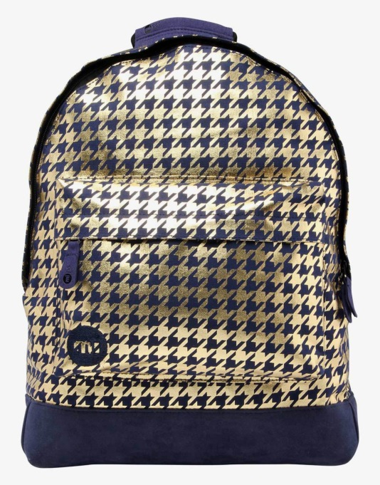 Mi-Pac Houndstooth Backpack - Navy/Gold