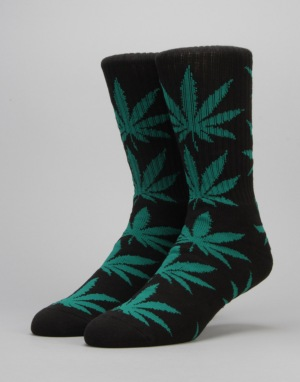 HUF Plantlife Crew Socks - Black/Green