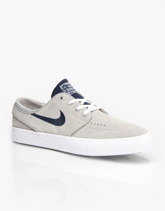 Nike SB Zoom Stefan Janoski Skate Shoes - Medium Grey/ Obsidian- White