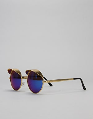 Route One Eyelid Sunglasses - Gold (Blue Lens)