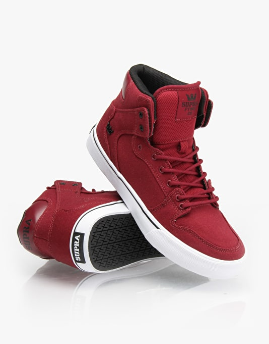 Supra Vaider Boys Skate Shoes - Burgundy/White