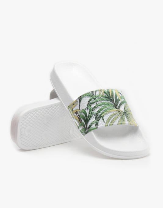 Slydes Panama Sandals - White Palm Screenprint