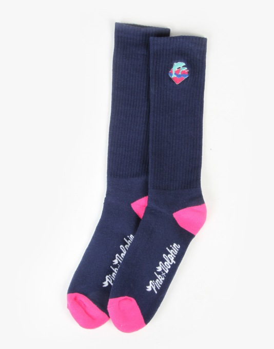 Pink Dolphin Waves Socks - Navy