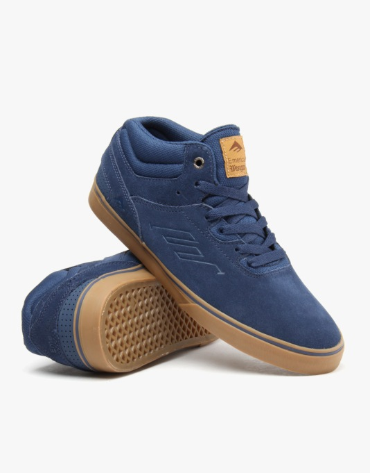 Emerica Westgate Mid Vulc Skate Shoes - Dark Blue/Gum