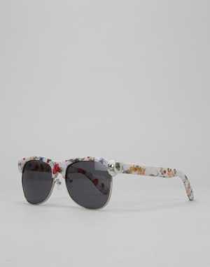 Glassy Sunhater Shredder Sunglasses -  White/Flower