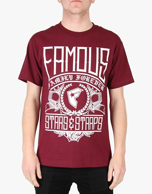 Famous Know T-Shirt - Burgundy/White