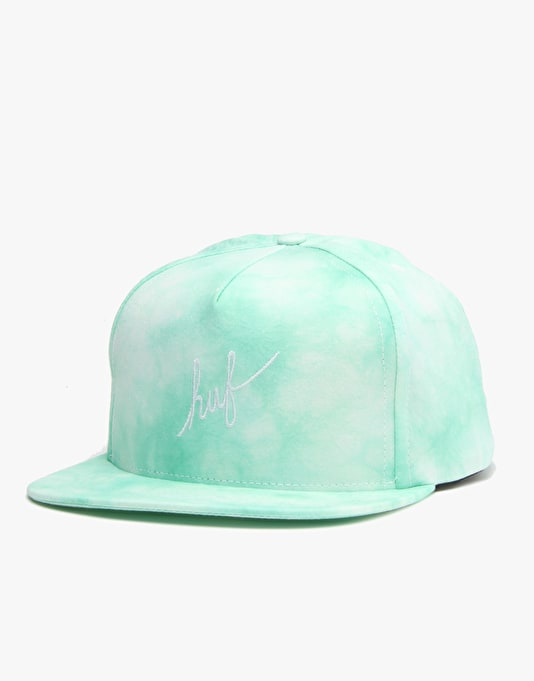 HUF Crystal Wash Script Snapback Cap - Mint Crystal Wash
