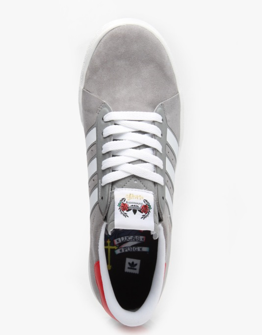 Adidas x Cliché Lucas ADV Skate Shoes - Solid Grey/White/Scarlet