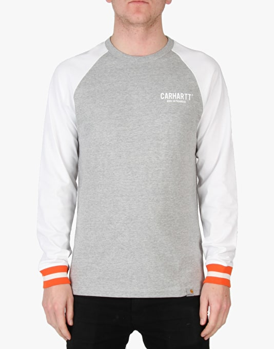 Carhartt Riley L/S T-Shirt - Grey Heather/White
