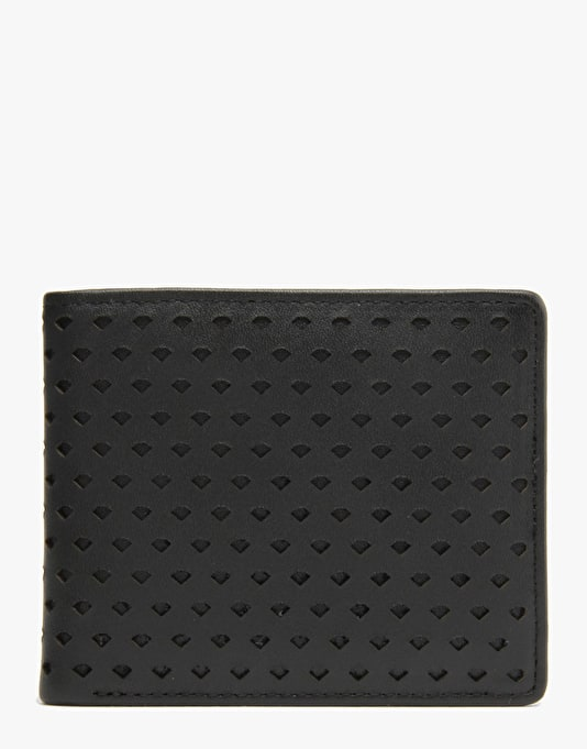 Diamond Supply Co. Perforated Leather Bi-Fold Wallet - Black
