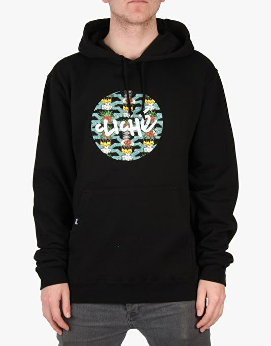 Cliché Floral Party Pullover Hoodie - Black
