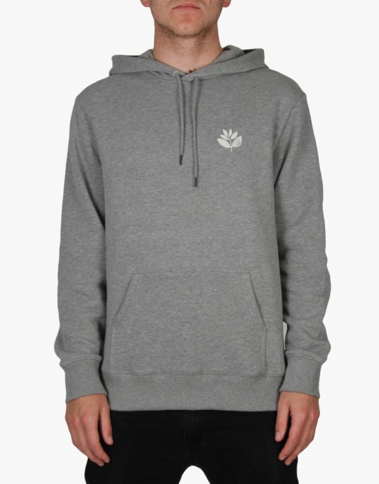 Magenta Classic Plant Pullover Hoodie - Heather Grey/Light Grey