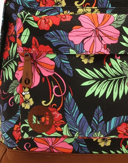 Mi-Pac Tropical Floral Backpack - Neon Black