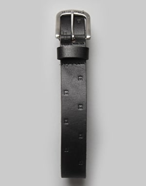 DC Stamped Leather Belt - Black