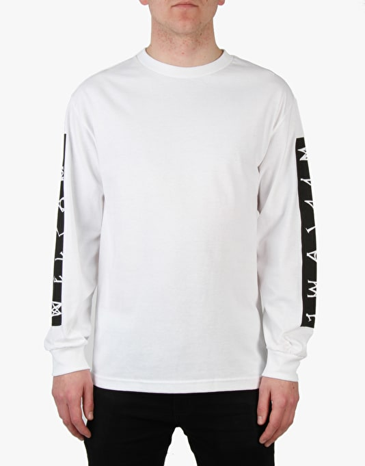 Welcome Scrawl Bar Longsleeve T-Shirt - White/Black