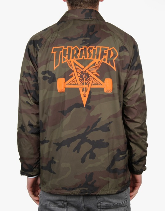 Thrasher Skate Goat Coach Jacket - Camo/Orange