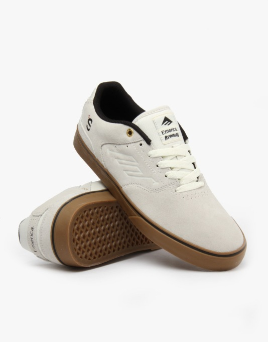 Emerica x The Skateboard Mag The Reynolds Low Vulc Skate Shoes - White