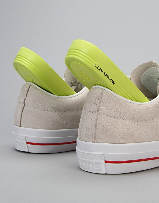 Converse Cons One Star Suede Skate Shoes - Egret/White/Red