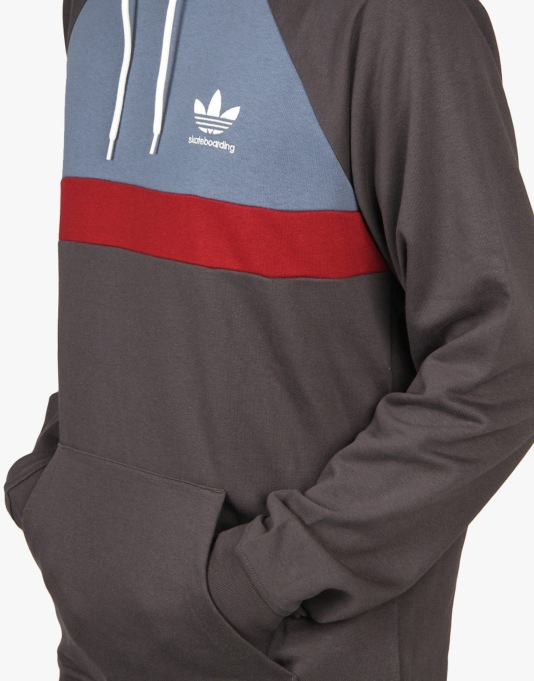 Adidas ADV Blocked Pullover Hoodie - Carbon/Ink/Collegiate Burgundy