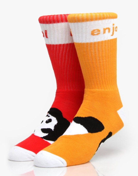 Enjoi Panda Feet Mixed Socks - Orange/Red