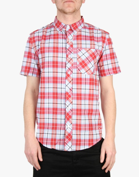 Route One Short Sleeve Checked Shirt - Small Red Check