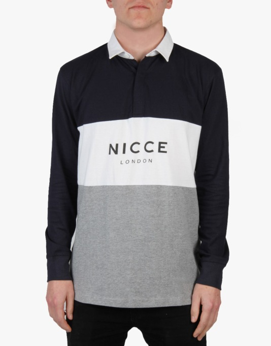 Nicce Triple Panel Rugby Shirt - Navy Grey White