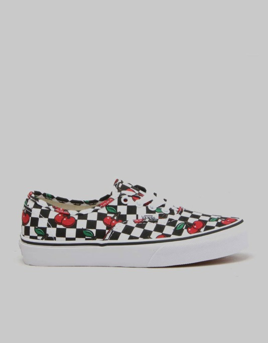 Vans Authentic Boys Skate Shoes - (Cherry Checkers) Black/True White
