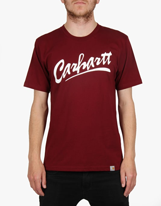 Carhartt S/S Brush T-Shirt - Cranberry/White