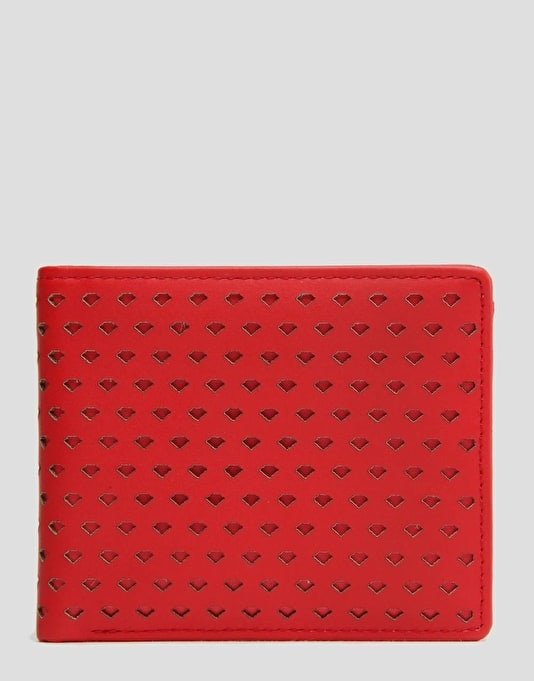 Diamond Supply Co. Perforated Leather Bi-Fold Wallet - Red