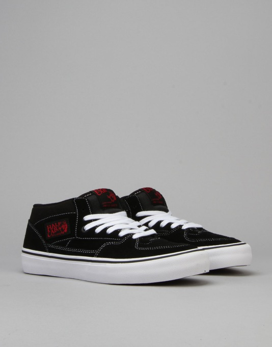Vans Half Cab Pro Skate Shoes - Black/White/Red