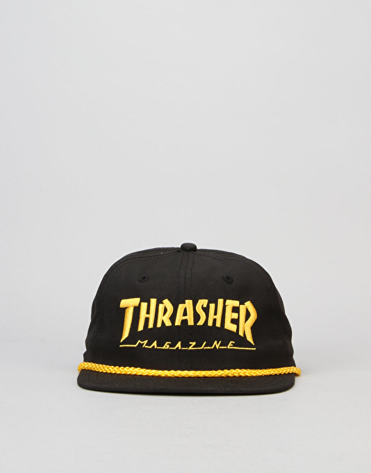 Thrasher Rope Snapback Cap - Black/Yellow
