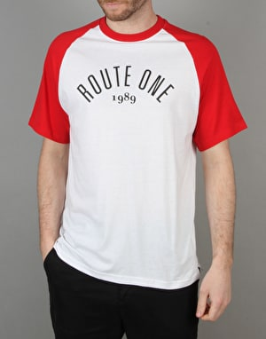 Route One Raglan T-Shirt - White/Red